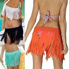 Womens Tassel Short Wrap Skirt Swimwear Bikini Cover Up Sarong Pareo Beach Dress