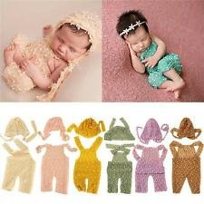 Newborn Baby Boy Girl Crochet Knit Romper Hat Clothes Photo Prop Costume Outfits