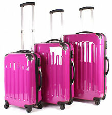 Suitcase Luggage Set of 3 Hot Pink Womens Hard Shell 4 Wheel Spinner Lightweight