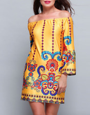 Yellow Bohemian Printed Off Shoulder Shift Dress