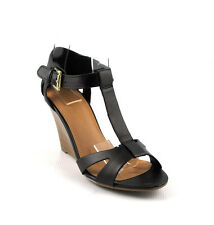 Black Leathearette Awesome Cutie T Strap Closed Back Cut Out Wedge Heels Sandals