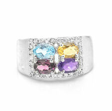 925 Sterling Silver Ring with Blue Topaz Citrine Rhodolite Amethyst Gemstones.