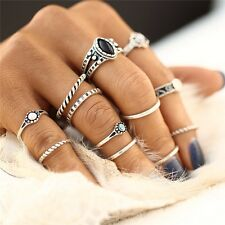 Hot Bohemia Knuckle Black Nature Stone Gold Silver Plated Finger Rings 12 PCS