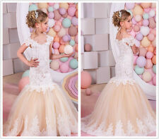 Cute Lace Applique Mermaid Flower Girl Dress for Kids Bridesmaid Wedding Party
