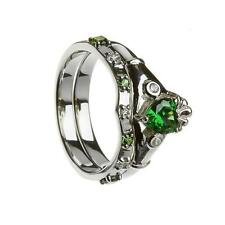 Ladies White Gold and Emerald CZ Two Part Irish Celtic Claddagh Stone Set Ring