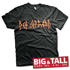 Officially Licensed Def Leppard Distressed Logo 3XL,4XL,5XL Men's T-Shirt