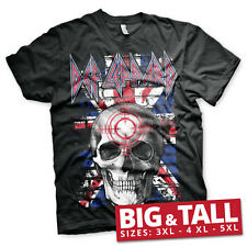 Officially Licensed Def Leppard Union Jack Skull 3XL,4XL,5XL Men's T-Shirt