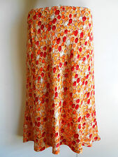 George Size 12 14 Orange Red White Elastic Waist Pull On Knee Length Skirts NWOT
