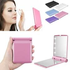 Makeup Cosmetic Folding Portable Compact Pocket Mirror with 8 LED Light Lamp