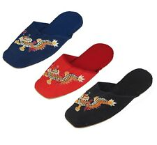 Handmade Embroidered Dragon Chinese Women's Cotton Slippers Red Black New