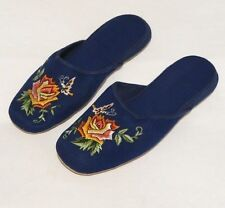 Handmade Embroidered Floral Rose Chinese Women's Cotton Slippers Blue New