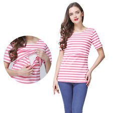 Stripe Maternity Clothes For Pregnant Women Nursing Top Breastfeeding T-Shirt