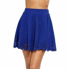 Womens Skirts Royal Blue Laser Cut Out Scallop Textured Above Knee Skirt