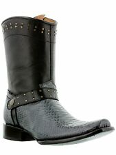 new mens gray western square toe cowboy exotic python snake casual style boots