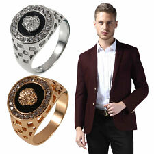 New Unique Design Crystal Gem Men's 18k Gold Plated Fashion Jewelry Ring BG