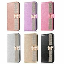 Luxury Flip Bling Crystal Butterfly Leather Wallet Case Cover For Various Phones