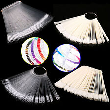 50Pcs Nail Art False Tips Sticks Polish Practice Display Fan Board Design ToolBA