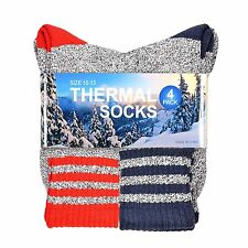 Soxnet Eco Recyled Cotton Thermals Boot Socks 4 Pairs (Stripe-Red/Blue)