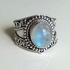 925 Solid Sterling Silver Ring Rainbow Moonstone  Handmade US Size 4-13