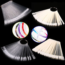 50Pcs Nail Art False Tips Sticks Polish Practice Display Fan Board Design ToolBO