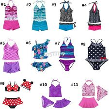Girls Kids Tankini Set Swimwear Bikini Skirt Swimsuit Swimming Costume Age 2-14Y
