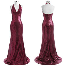 Sequined Floor-Length Halter V-Neck Ball Gowns Sexy Evening Prom Party Dress New