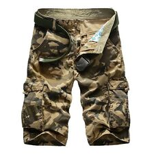 Men Camouflage Combat Pants Military Cargo Work Camo Shorts Army Casual Trousers