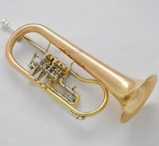 Professional Rotary Valve Flugelhorn Gold Brass BB Horn Engraving Bell With case
