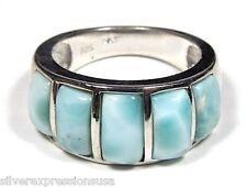 AAA Genuine Dominican Larimar Inlay 925 Sterling Silver Band Ring Size 6 7 8 9