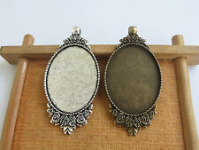 10 Silver/Bronze Plated 30x40mm Oval Pendant Trays Blank Bezel/Cabochon Setting