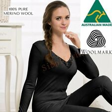Women's 100% Pure Merino Wool V-Neck Long Sleeve Top Thermal Underwear 02
