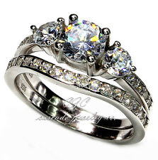 Beautiful Engagement Ring Wedding Band SOLID .925 Sterling Silver & CZ SET