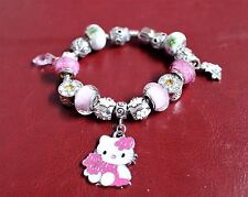 European Pando style Bracelet, Pink Hello Kitty and Flower charms, 3 designs