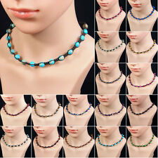 "8mm assorted natural gemstone beads adjustable knitted choker necklace 15""-27"""