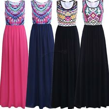 Womens Summer Boho Sleeveless Long Maxi Evening Party Beach Sun Dress Sexy Skirt