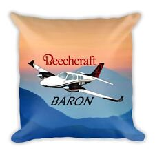 Beechcraft Baron Custom Airplane Throw Pillow Case Stuffed & Sewn