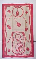 Vintage 1950's Linen Kitchen Towel from Louisiana / Seafood Cook Nautical Image