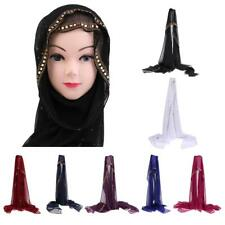 Muslim Chiffon Hijab Scarf Shawl Wrap décor with Rhinestone and Beads