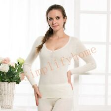 Women 100% Pure Merino Wool Long Sleeve Top Thermal Underwear Thermo Fleece 01