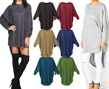 Women`s Ladies Baggy Long Batwing Oversized Casual Wear Hi LO Top Plus Size 8-26