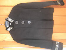 PARAPHRASE SMART BLACK SEQUINNED BEADED BOILED WOOL LOOK MIX JACKET 12 M NEW
