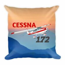 Cessna 172 Straight Tail Airplane Throw Pillow Case Stuffed & Sewn