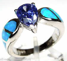 Tanzanite and Blue Fire Opal Inlay Solid 925 Sterling Silver Ring size 5-7