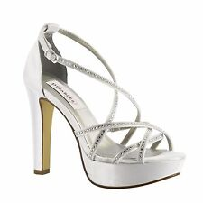 Dyeables Taylor White, Silver High Heeled Strappy Sandals, Bridal, Prom,Platform