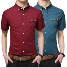 Mens Business Shirt Short Sleeve Casual Slim Fit Solid Color Cotton Dress Shirts