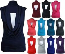 NEW WOMEN GATHERED COWL NECK TOP LADIES SLEEVELESS LONG VEST TOP PLUS SIZE 8-26