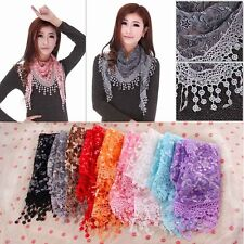 Lace Sheer Floral Print Triangle Veil Church Mantilla Scarf Shawl Wrap Tassel B
