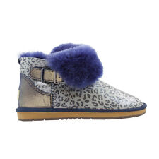 Ugg Boots Sheepskin Leopard Buckle Ankle Boot  - AUZLAND BETHEL Blue Ladies Size