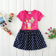 Lovely Polka dots Kids Girls Peppa Pig Short Sleeve Pink Cotton Party Dress 2-7T