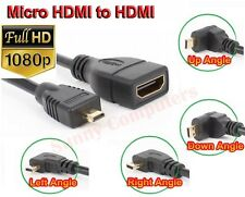 Angle Micro HDMI Male to HDMI Female Adapter Cable 1080P 4K HD HDTV Gold Plated